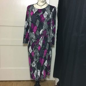 Nine West Snake inspired purple long sleeve dress